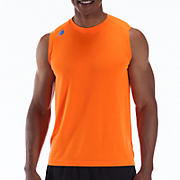 Sleeveless Tech Tee, Orange Flash