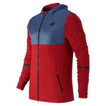New Balance N Transit Hoodie, Chrome Red Heather with Crater