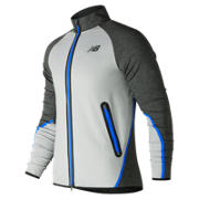 New Balance Trinamic Jacket, Athletic Grey with Heather Charcoal & Electric Blue