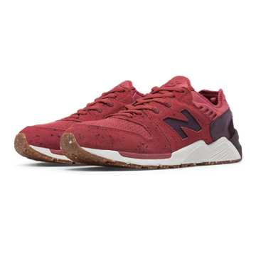 New Balance 009 Speckle Suede, Clay Red with Supernova Red