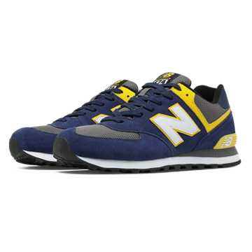 New Balance 574 Core Plus, Navy with Yellow & Grey
