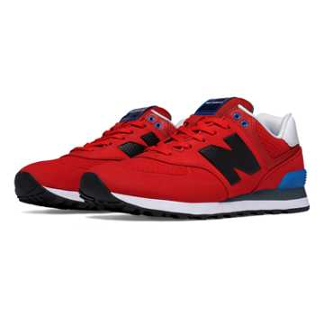 New Balance 574 Paint Chip, Red with Blue