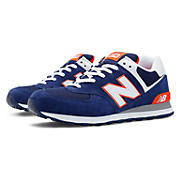 New Balance 574, Blue with White & Orange