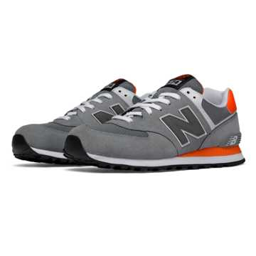 New Balance 574 Core Plus, Grey with Orange & Light Grey