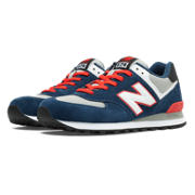 NB Core 574, White with Grey & Grape