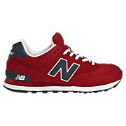 New Balance 574, Red with Charcoal