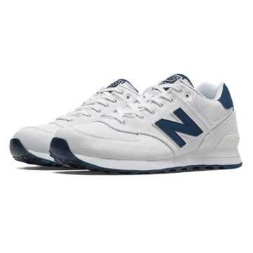 New Balance 574 Pique Polo Pack, White with Navy