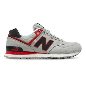 New Balance 574 Jetsetter, Silver Mink with Red