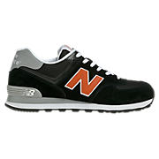 New Balance 574, Black with Orange & Grey