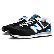 New Balance 574, Black with White & Carolina Blue