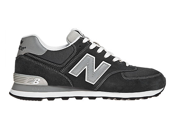 New Balance 574, Black with Grey & White