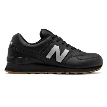New Balance 574 Leather, Black with Silver