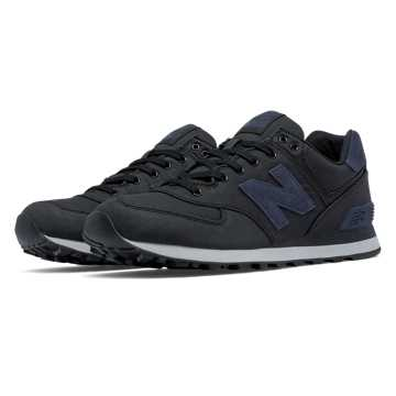 New Balance 574 Waxed Canvas, Black with Outer Space