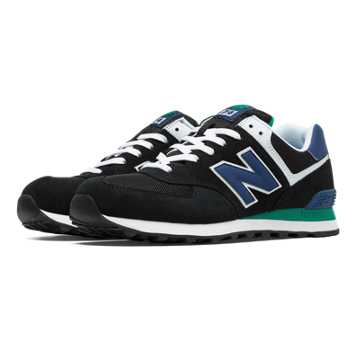 New Balance 574 New Balance, Black with Blue & Green