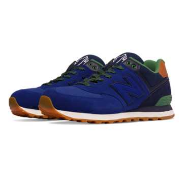 New Balance 574 Collegiate, Blue with Navy & Green