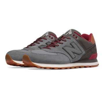 New Balance 574 Collegiate, Gunmetal with Raven & Red