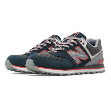 New Balance 574 Outside In, Deep Water with Cool Grey & Orange