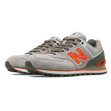 New Balance 574 Outside In, Light Grey with Green & Orange