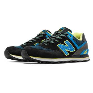 New Balance 574 Outside In, Black with Blue Atoll & Yellow