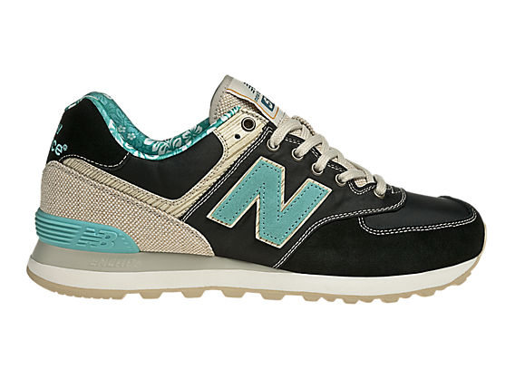 New Balance 574-, Black with Blue & Tan
