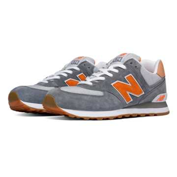 New Balance 574 Premium Cruisin, Grey with Castlerock & Orange