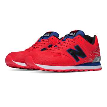 New Balance 574 Summer Waves, Red with White