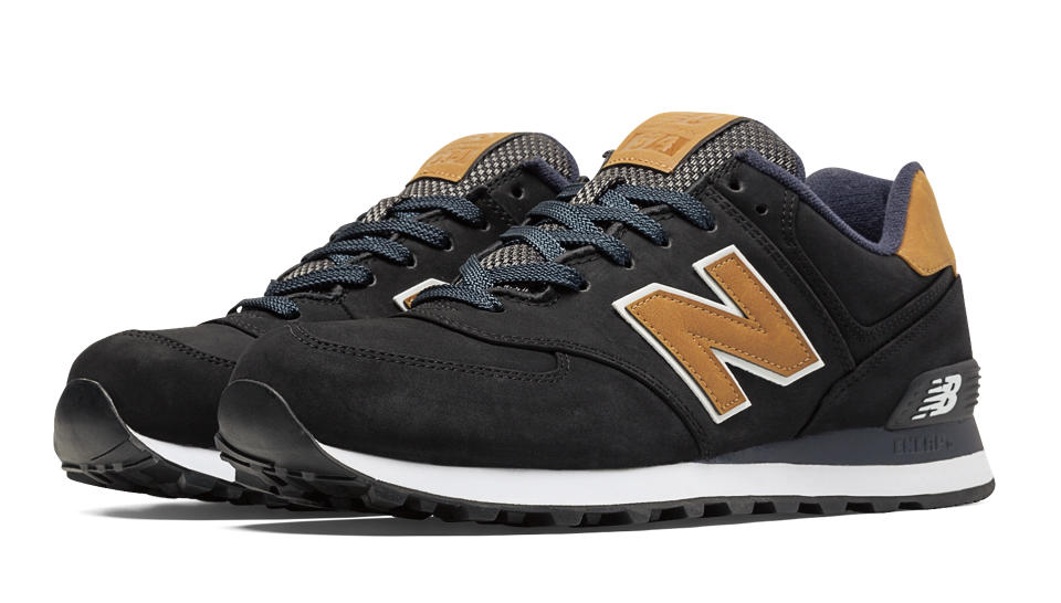 New Balance 574 Lux, Black with Tan