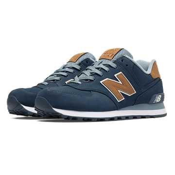 New Balance 574 Lux, Navy with Tan