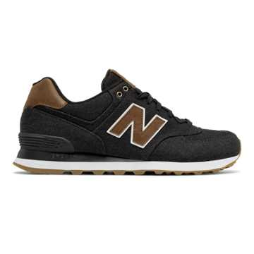 New Balance 574 15 Ounce Canvas, Black with Brown