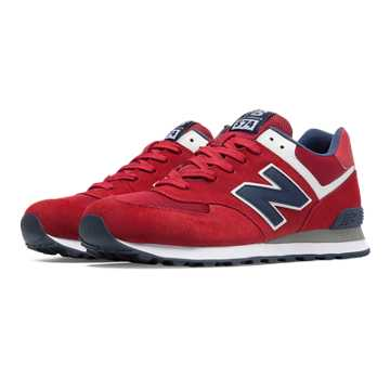 New Balance 574 New Balance, Red with Navy & Grey
