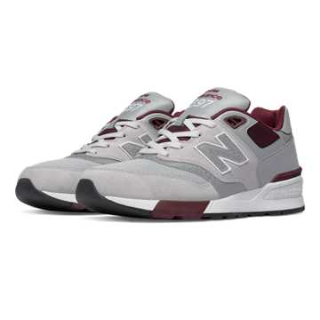 New Balance 597 90s Traditional, Light Grey with Burgundy