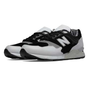 New Balance 878 90s Prep, White with Black & Concrete