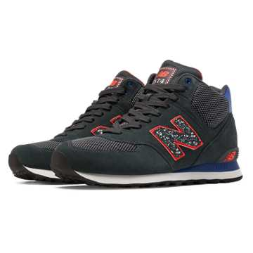New Balance 574 Outside In Mid-Cut, Dark Grey with Blue & Orange