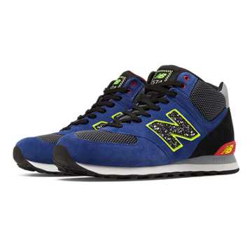 New Balance 574 Outside In Mid-Cut, Blue with Black & Red