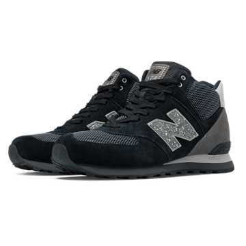 New Balance 574 Outside In Mid-Cut, Black with Grey & Silver