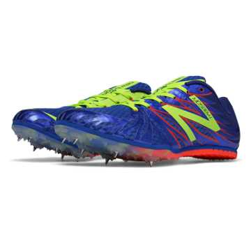 New Balance MD500v4 Spike, Blue with Yellow & Red