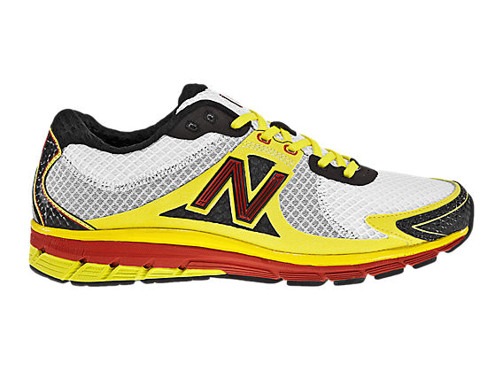 New Balance 1190, White with Yellow & Red