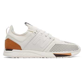 New Balance 247 Luxe, White with Brown