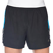 5 inch Run Short, Black with Kinetic Blue