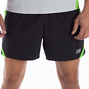5 inch Track Short, Black with Jazz Green
