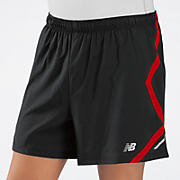 5 inch Track Short, Black with Tango Red