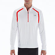 Impact 1/2 Zip, White with Fiery Red