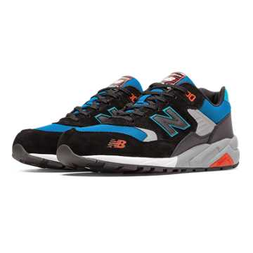 New Balance 580 Elite Edition Pinball Suede, Black with Blue & Red
