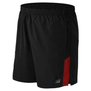 New Balance Accelerate 7 Inch Short, Black with Chrome Red