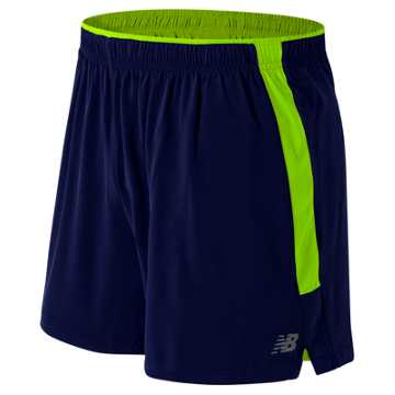 New Balance Impact 5 Inch Track Short, Abyss with Toxic