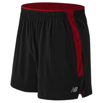 New Balance Impact 5 Inch Track Short, Black Multi with Chrome Red