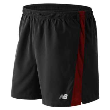 New Balance Accelerate 5 Inch Short, Black with Chrome Red