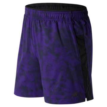 New Balance Printed Woven 2 In 1 Short, Black Plum with Black