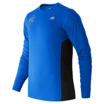 New Balance United NYC Half LS Tee, Electric Blue Heather