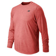 Long Sleeve Heather Tech Tee, Chrome Red Heather
